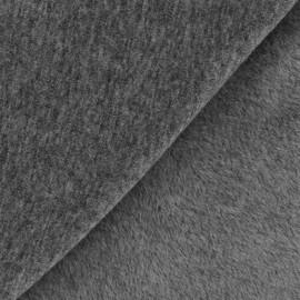 Tissu sweat envers minkee uni - gris anthracite x 10cm