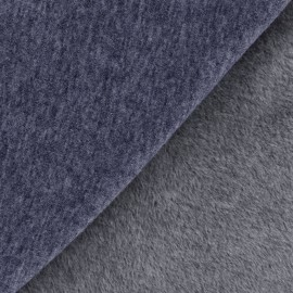 Tissu sweat envers minkee uni - bleu denim x 10cm