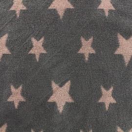 Tissu éponge jersey coton Stars - corail/anthracite x 10cm