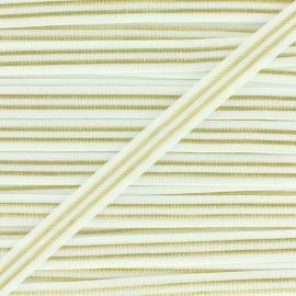 Elastique plat Metallic 10mm - blanc/doré x 1m