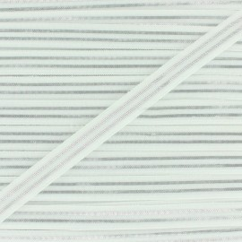 Flat elastic Metallic 10mm - white/silver x 1m