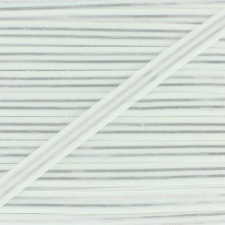 Elastique plat Metallic 10mm - blanc/argent x 1m