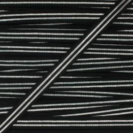 Elastique plat Metallic 10mm - noir/argent x 1m