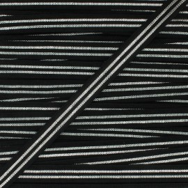 Flat elastic Metallic 10mm - black/silver x 1m