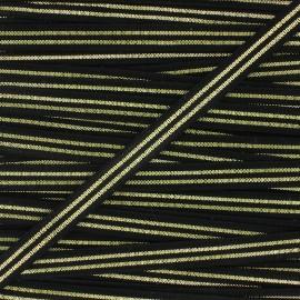Elastique plat Metallic 10mm - noir/doré x 1m