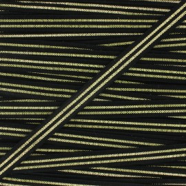 Flat elastic Metallic 10mm - black/golden x 1m