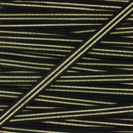 Flat elastic Metallic 10mm - black/golden x 1m