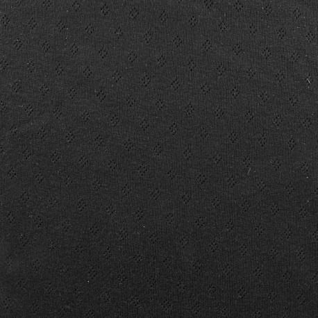 Tissu jersey maille ajourée Diamond - noir x 10cm