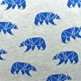 Tissu jersey Poppy Polar bear - bleu x 10cm