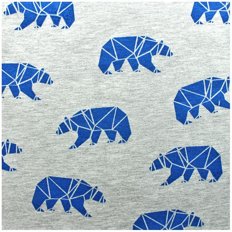 a9d5d8f0dc0 Poppy jersey fabric Polar bear - blue x 10cm - Ma Petite Mercerie