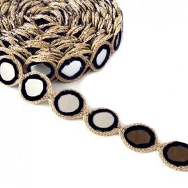 Ruban galon India Miroir - noir x 25cm