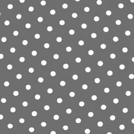 Tissu coton pois 7mm - blanc/gris clair x 10cm