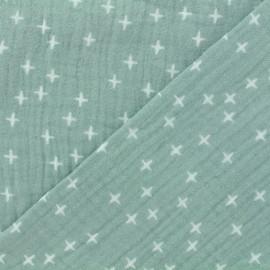 Tissu double gaze de coton Oeko-tex Poppy Criss Cross - vert amandier x 10cm