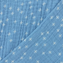 ♥ Coupon tissu 20 cm X 135 cm ♥ double gaze de coton Oeko-tex Poppy Criss Cross - bleu clair