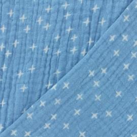 Tissu double gaze de coton Oeko-tex Poppy Criss Cross - bleu clair x 10cm