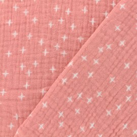 Double gauze fabric Oeko-tex Poppy Criss Cross - pink x 10cm