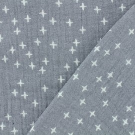Double gauze fabric Oeko-tex Poppy Criss Cross - grey x 10cm
