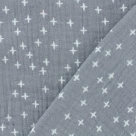 Tissu double gaze de coton Oeko-tex Poppy Criss Cross - gris x 10cm