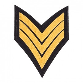 Embroidered sequined iron on patch Army - gold