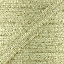 Cordon plat tressé lurex - or clair x 1m