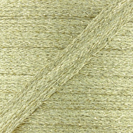 Flat braided lurex cord - light gold x 1m