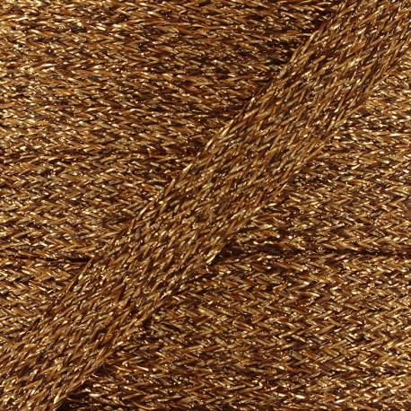 Flat braided lurex cord - copper x 1m