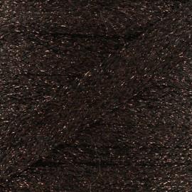 Cordon plat tressé lurex - marron x 1m