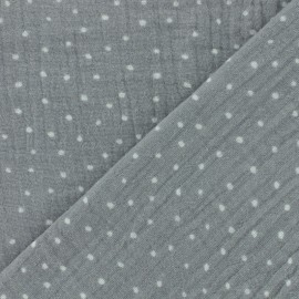 Double gauze fabric Oeko-tex Poppy Dots - grey x 10cm