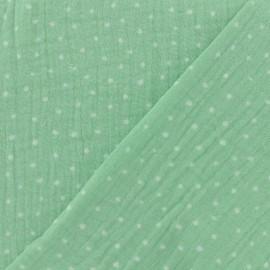 Double gauze fabric Oeko-tex Poppy Dots - seagreen x 10cm