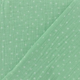 Tissu double gaze de coton Oeko-tex Poppy Dots - vert d'eau x 10cm
