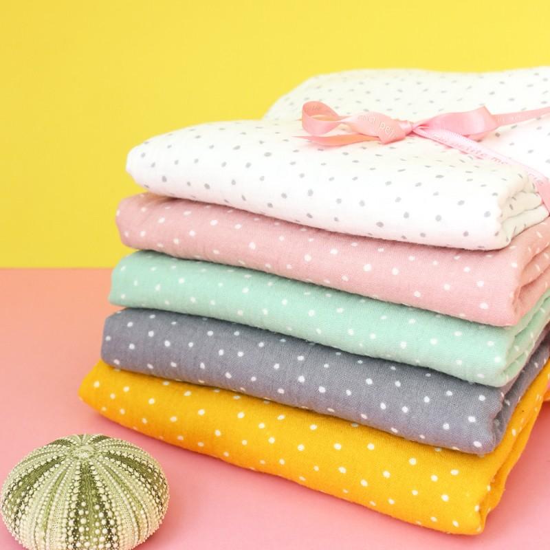 tissu double gaze de coton oeko tex poppy dots rose poudr x 10cm ma petite mercerie. Black Bedroom Furniture Sets. Home Design Ideas