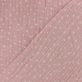 Double gauze fabric Oeko-tex Poppy Dots - powder pink x 10cm