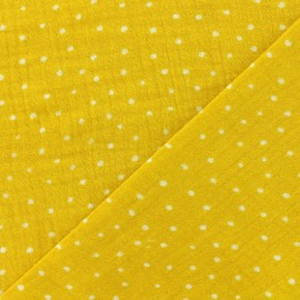 Double gauze fabric Oeko-tex Poppy Dots - yellow x 10cm