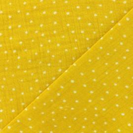 Tissu double gaze de coton Oeko-tex Poppy Dots - jaune x 10cm