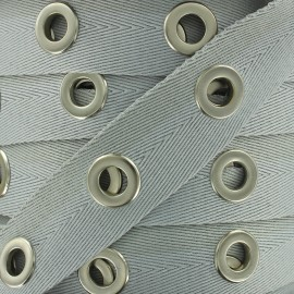 Eyelet twill ribbon - grey x 1m