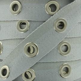 Ruban sergé à oeillets - gris x 1m