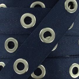 Eyelet twill ribbon - navy x 1m