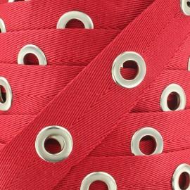 Ruban sergé à oeillets - rouge x 1m