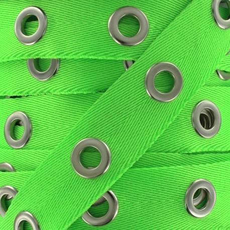Eyelet twill ribbon - bright green x 1m