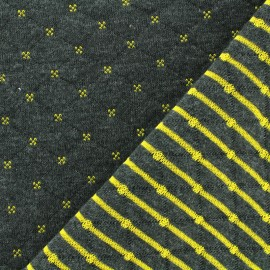 Reversible quilted jersey fabric Solly - black/yellow x 10cm