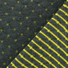 Tissu jersey matelassé réversible Solly - noir/jaune x 10cm