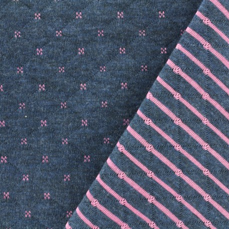 Reversible quilted jersey fabric Solly - blue/pink x 10cm