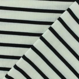Reversible jersey fabric Saint Malo - ecru/black x 10cm