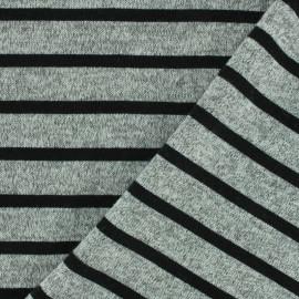 Reversible jersey fabric Saint Malo - grey/black x 10cm