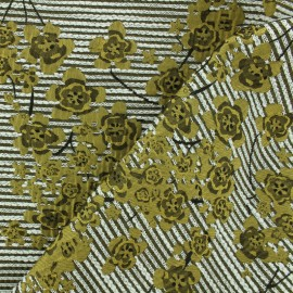Embroidered jacquard fabric Floraly - olive x 10cm