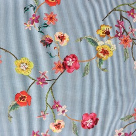 Cotton fabric imprimé  Flowers and stripes - blue x 10cm