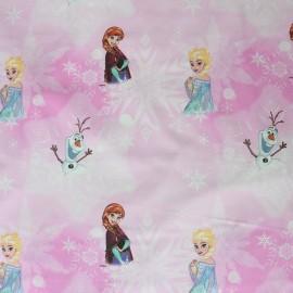 Tissu coton Reine des Neiges Frozen - rose x 32cm