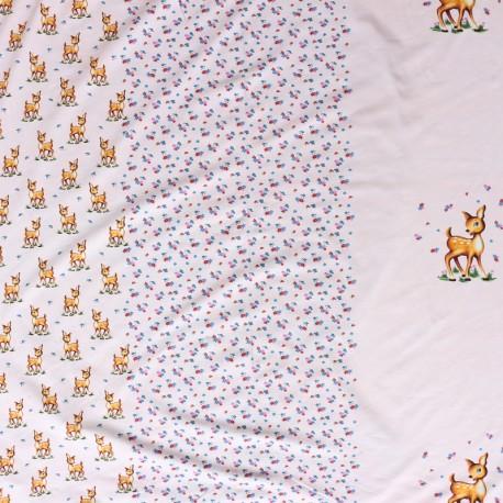 Poppy jersey fabric Deer Story - pink x 51cm