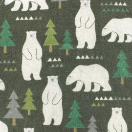 Kokka Echino cotton canvas fabric Kokka Bear - grey x 30cm
