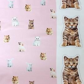 ♥ Coupon 290 cm X 140 cm ♥  Poppy jersey fabric Little Pets - pink
